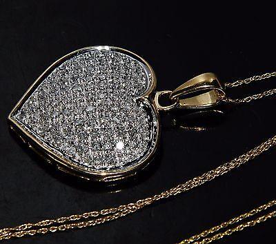 "UK Hallmarked 9ct Yellow Gold 1.00ct Diamond Heart ""Large"" Pendant & Chain"