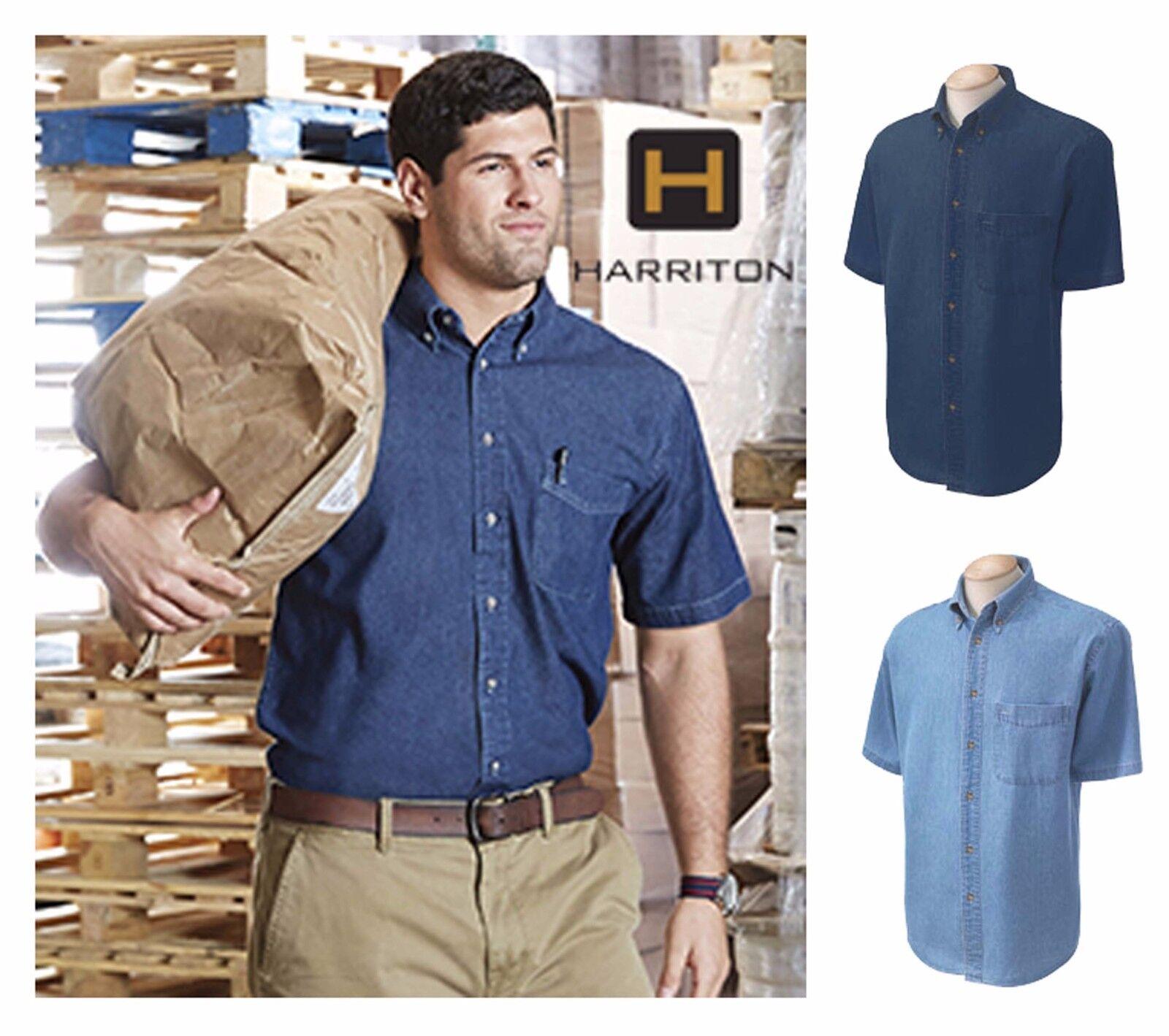 b15bfb19696 Harriton Men s Short-Sleeve Button up 100% Cotton Denim Shirt S-4XL ...