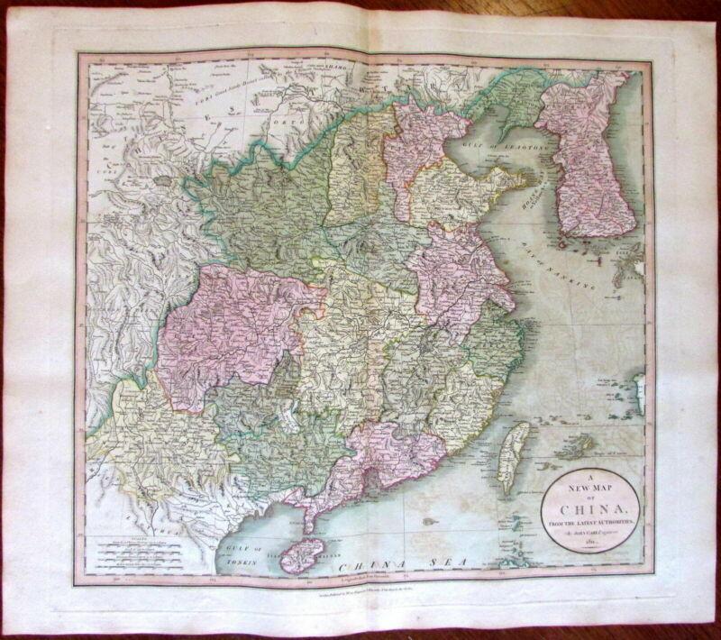 China Korea Hainan Formosa Yellow Sea 1811 John Cary lovely large old map
