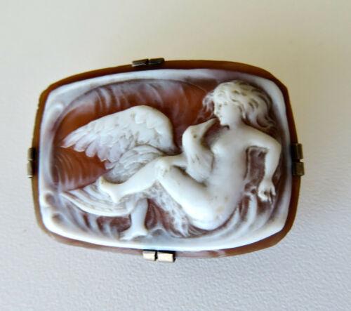 Antique Italian 800 Silver Sardonyx Shell Cameo Leda and the Swan