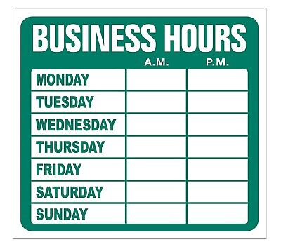 Open Business Hours Low Tack Sign Store Static Cling Window Glass Door Green