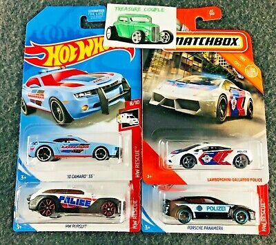 Hot Wheels / Matchbox - Lot of 4 - POLICE - Lambo Gallardo - Camaro Porsche C109
