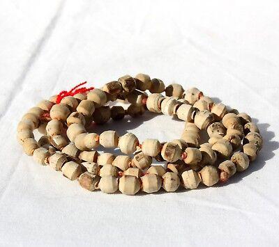 WHITE (HOLY BASIL) TULSI JAPA KNOTTED MALA PRAYER BEADS YOGA HINDU MEDITATION