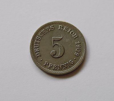 KAISERREICH: 5 Pfennig 1909 F, J. 12, vorzüglich+ !!! SELTEN !!!