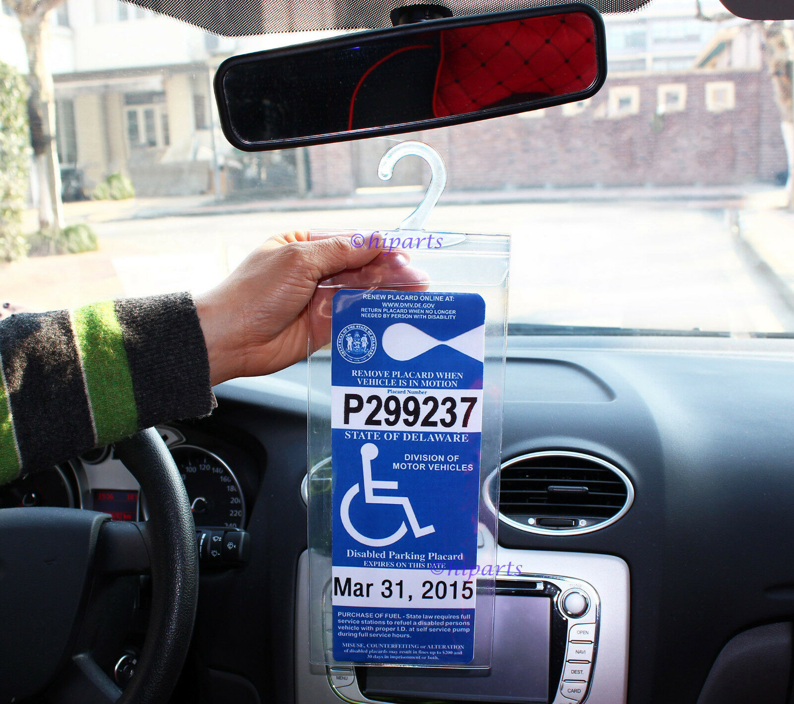 2x Handicap Parking Permit Placard Protector Cover Hanger ...