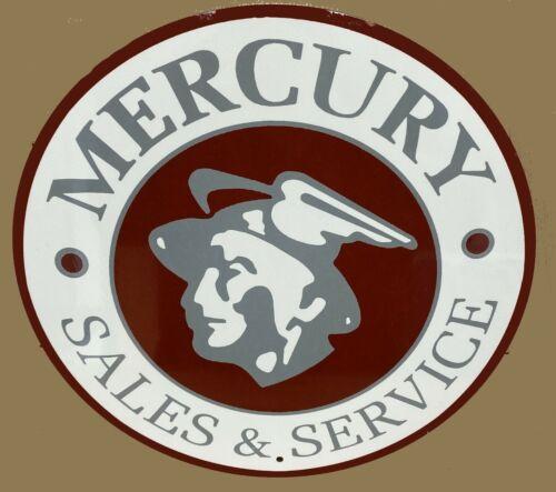 """Nostalgic Mercury Sales & Service Aluminum Tin Metal 12"""" Round Sign"""