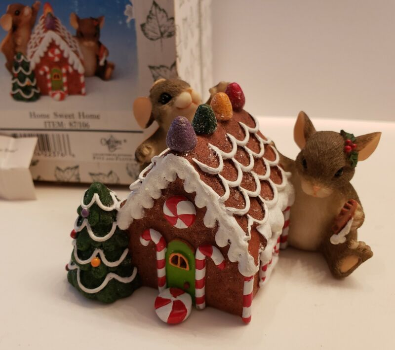 Charming Tails Fitz & Floyd HOME SWEET HOME Christmas MICE Figurines Gingerbread
