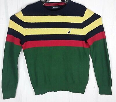 Vintage Nautica Colorblock Sweater Mens Size S 90s Red Yellow Green Navy Blue