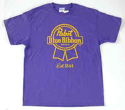 PABST BLUE RIBBON SHIRT Men's Size XL X-Large Purple/Yellow Beer Est. 1844 >NEW<