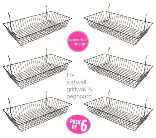 """6 pcs -24"""" x 12"""" x 4"""" Baskets for Gridwall/Slatwall/Pegboard - BLACK"""