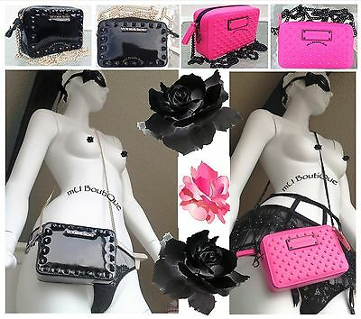 1 VICTORIA SECRET BLACK HOT PINK BOW STUDDED CROSSBODY WALLET CLUTCH PURSE  NWT](Pink And Black Bow)