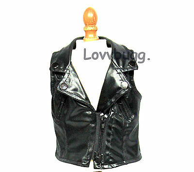 "Biker Leather Vest for 18"" American Girl Doll Clothes"
