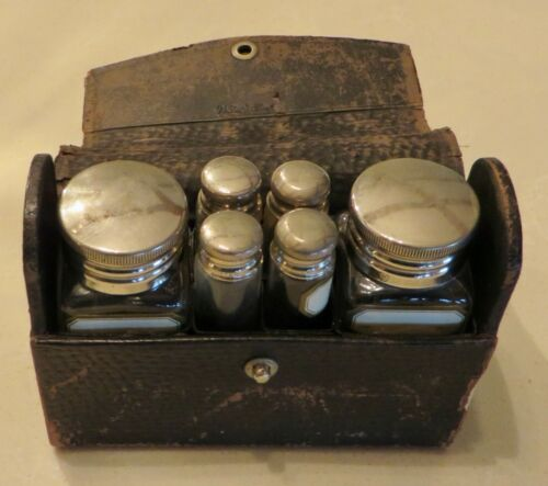 ANTIQUE APOTHECARY PHARMACY BOTTLES TRAVEL KIT GERMAN SILVER CAPS