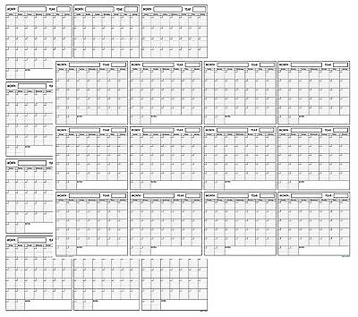 32x48 Wet & Dry Erase Blank Reusable Undated Annual Yearly Wall Calendar Planner - Calendar Planners