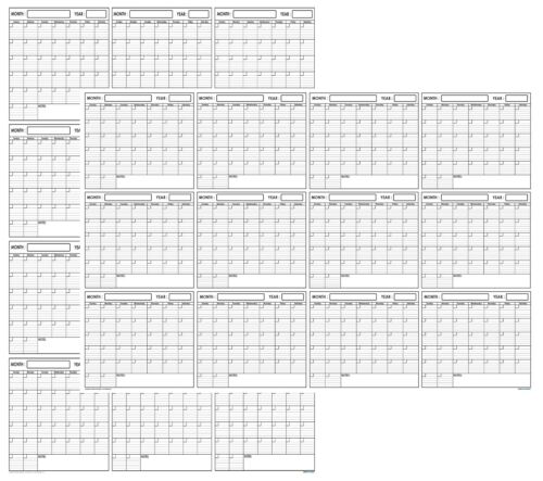 24x36 Erasable Blank Undated Annual Yearly Wall Calendar Home School Planner