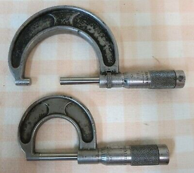 Vintage Brown And Sharpe Micrometers Set Of 2 Up To 1 And 1-2