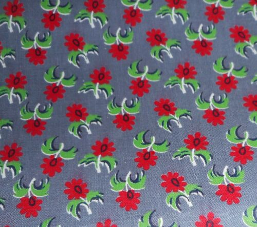Antique Small Scale Floral Glazed Chintz Cotton Fabric ~ Red Green Lavender Gray