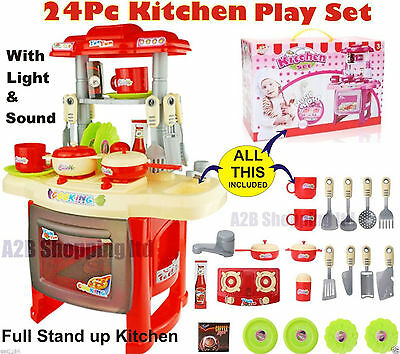 RED- KITCHEN SMALL -PLAY SET COOKING ROLE TOY LIGHT & SOUND CHILDRENS KIDS GIRLS