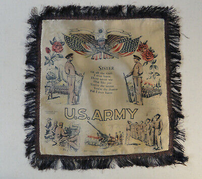 Us Army Fringed - VINTAGE US ARMY Military SISTER POEM PILLOW COVER 10.5