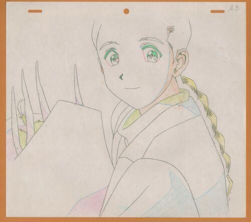 Golden Boy Prod Drawing Sketch cel anime #63 Noriko with groceries