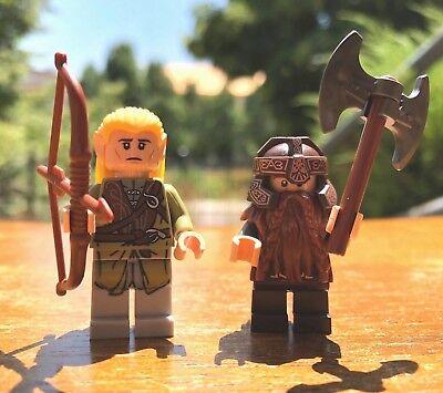 GENUINE LEGO HOBBIT LORD OF THE RINGS LEGOLAS w/ ARROW & GIMLI w/AXE