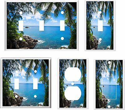 PALM TREE PARADISE TROPICAL BEACH LIGHT SWITCH COVER PLATE   U PICK PLATE SIZE