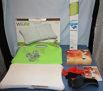Wii Fit Lot Balance Board Exercise Mat Personal Trainer Software Travel Case