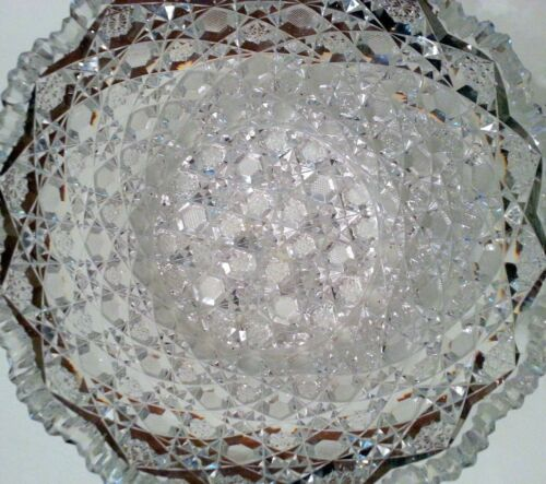"""Vintage Large Clear Crystal Bowl With Sawtooth Rim 9"""" Wide"""