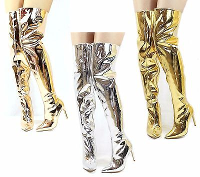 Metal Heel Thigh High Boots - Mini-80 Thigh High Over The Knee Metallic Stiletto Heels Dressy Pointy Toe Boots