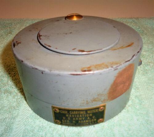 WWII US ARMY Navigation Watch Carrying Case Geo H Adamson Tecumseh, MI USA