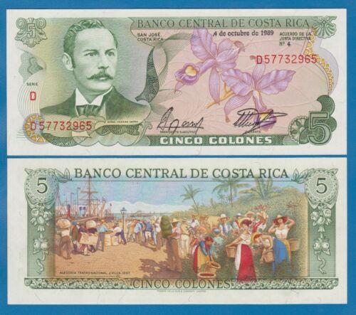 Costa Rica 5 Colones P 236d 1989 UNC Low Shipping! Combine FREE! P 236 d
