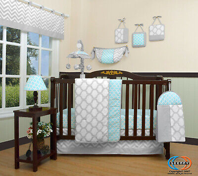 13PCS  Glacier Blue Baby Nursery Crib Bedding Sets  Holiday Special