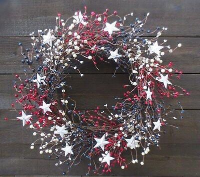 Patriotic Wreath Stars Red White Blue Pip Berry USA Americana Door Decor Flag