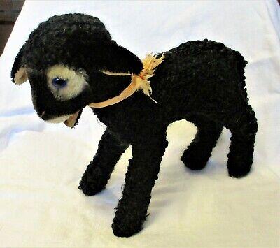 STEIFF STUFFED ANIMAL Swapl Lamb Black Sheep Button GERMANY 10