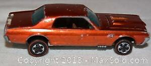 VINTAGE Toy Car HOT WHEELS CUSTOM COUGAR with red line tires and hood that opens. Mattel Inc. 1967 Made in Hong Kong
