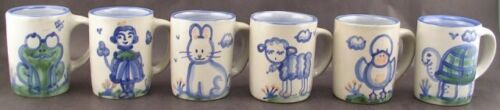 6 M A Hadley Hand Painted  Mugs Frog Girl Bunny Sheep Chick Turtle Good Cond