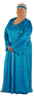Medieval-Fairytale BUDGET BLUE MEDIEVAL DRESS Fancy Dress Plus Sizes 18-40 (Budget Fairy Tale)