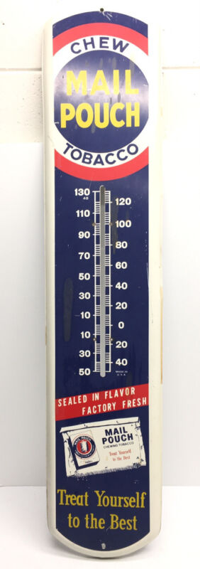 """39"""" Chew MAIL POUCH TobaccoThermometer Advertising Sign No Thermometer"""