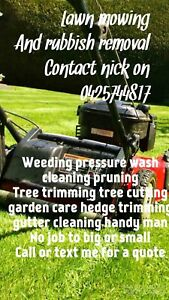 Lawn mowing gardening and rubbish removal services weeding pruning