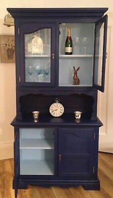 Large Shabby Chic Kitchen Dresser Display Cabinet - 2 Tone Blue - On Trend 2019