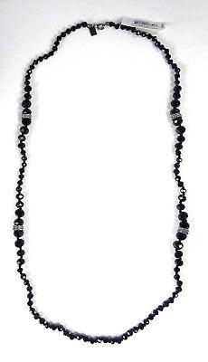 $68 Ralph Lauren Hematite Tone Crystal Pave Jet Rondelle Bead Necklace