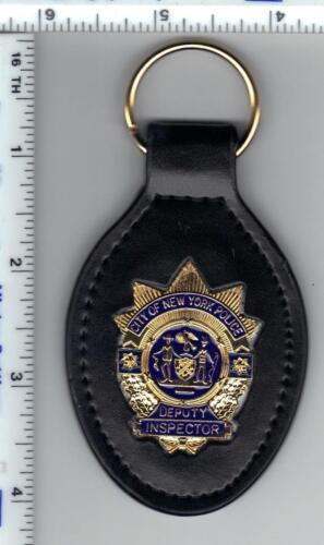 New York City Novelty Leather Key Fob with Police Deputy Inspector 1-inch Mini