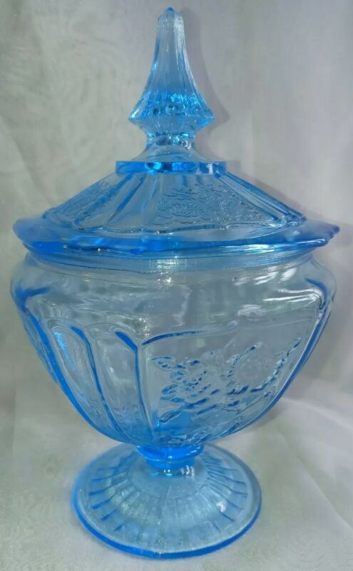 """Anchor Hocking Mayfair Blue """"Open Rose"""" Candy Dish W/Lid Great Condition!!!"""