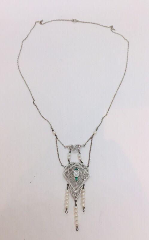 Antique Art Deco 14k White Gold Filigree Diamond Emerald Pearl Lavalier Necklace