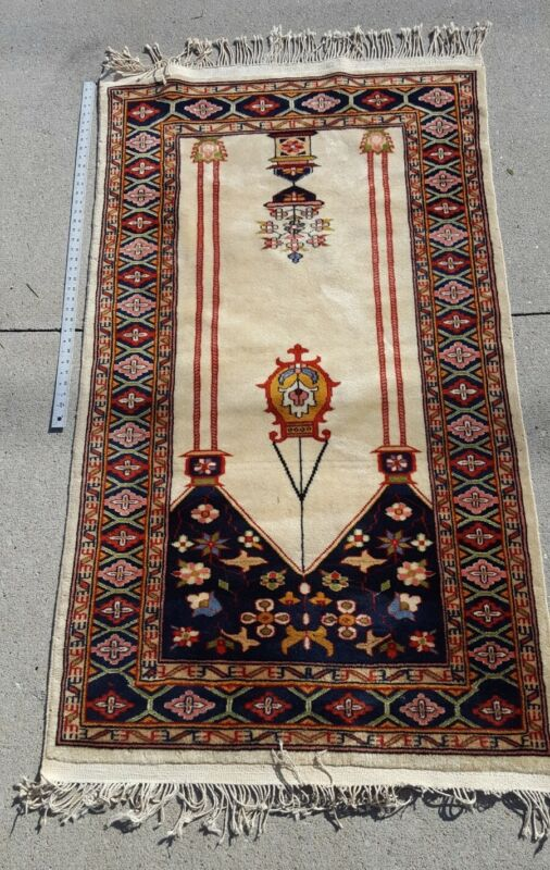 Vintage Turkish Prayer Rug, 63 x 36 inches.