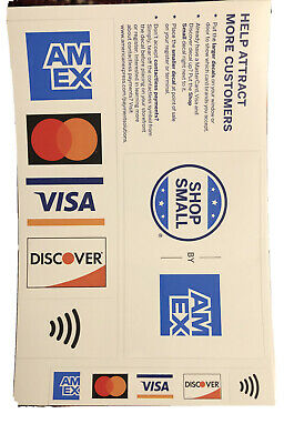 3 Pack Credit Card Sign Visa Mastercard Amex Discover Sticker Decal.