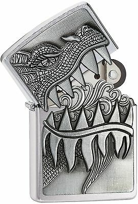 Zippo Windproof Fire Breathing Dragon Lighter  28969  New In Velour Box