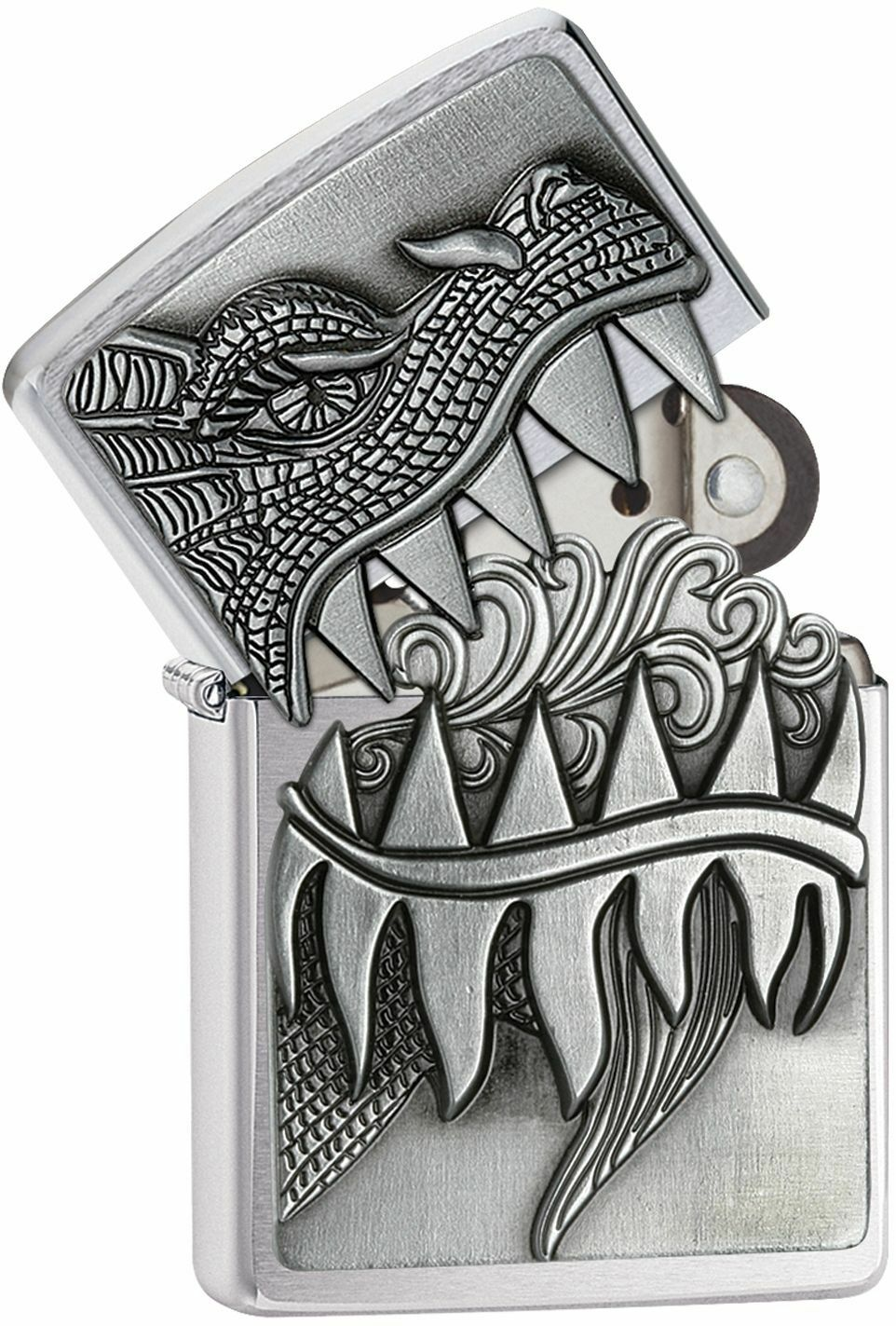 Zippo Windproof Fire Breathing Dragon Lighter, 28969, New In Velour Box