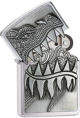 """Zippo """"Dragon-Surprise"""" Brushed Chrome Finish Lighter, Emblem, 28969"""