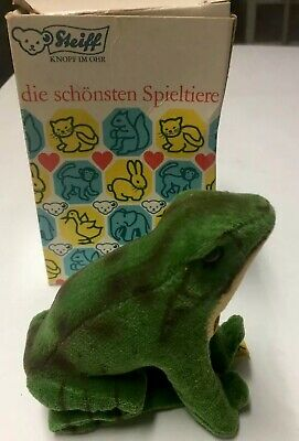 VINTAGE 1950s STEIFF Velveteen FROG Stuffed Animal TOY w/ORIGINAL BOX AND TAGS